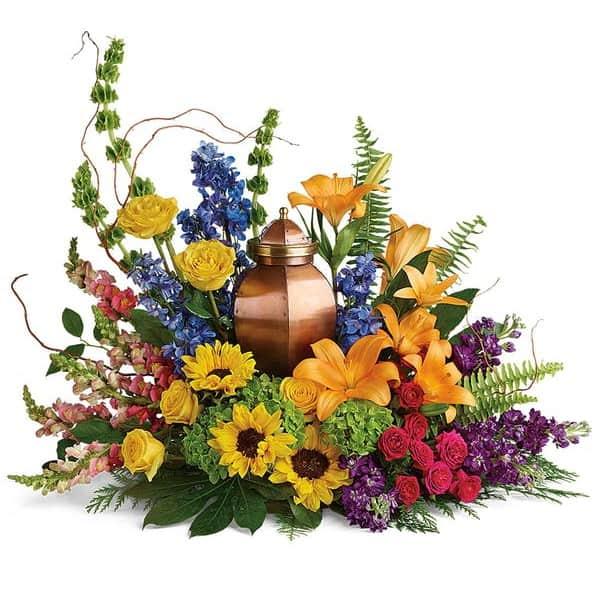 Vibrant Memorial Urn Flowers
