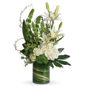 Green and White Sympathy Flowers in a Vase