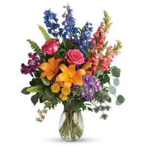 Vibrant Sympathy Flowers in a Vase