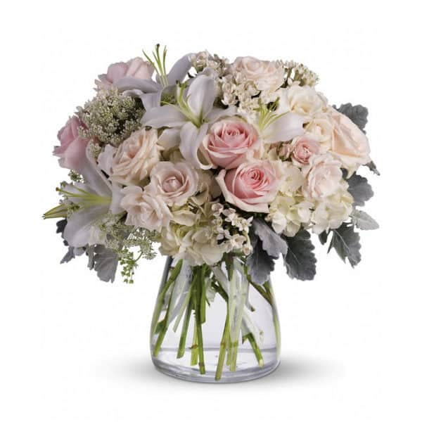 Pastel Pink Sympathy Flowers in a Vase