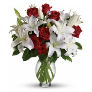 Red Rose & White Lily Sympathy Flowers