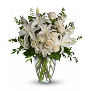 White Sympathy Flowers in a Vase
