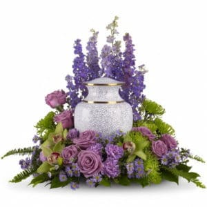 Purple Urn Memorial Flowers