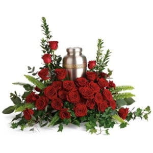 Red Rose Memorial Urn Flowers