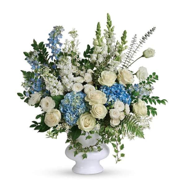 Blue & White Sympathy Flower Arrangement
