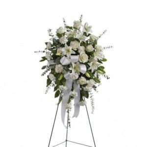 White Funeral Standing Spray