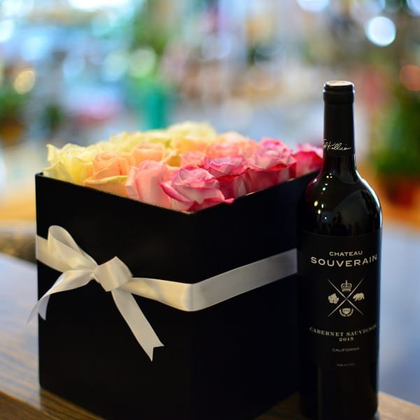 Rose Box with Wine