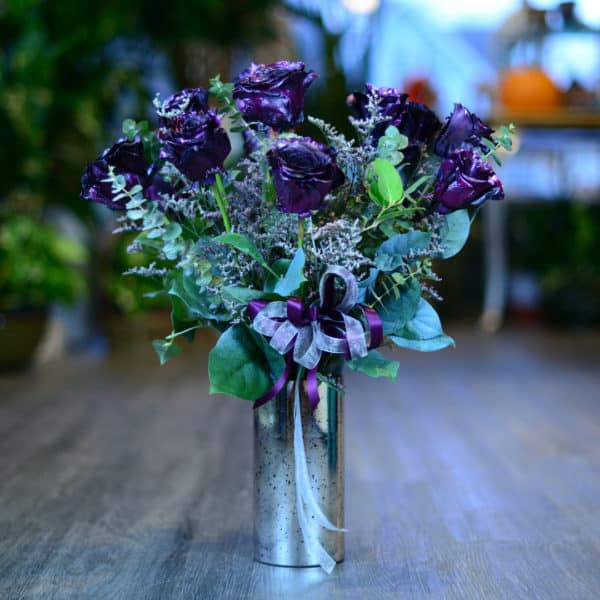 One Dozen Purple Metallic Roses