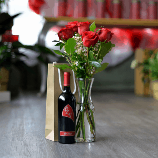 Half Dozen Red Roses with a Bottle of Wine