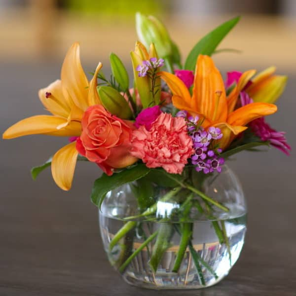 Orange Lily Flower Bowl