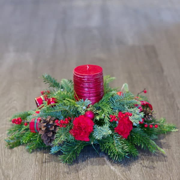 Red & Green Candle Centerpiece