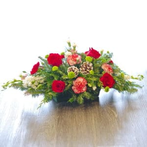 Evergreen Centerpiece with Flowers
