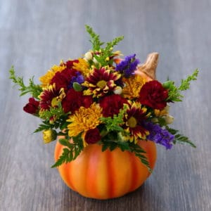 Ceramic Pumpkin Flower Bouquet