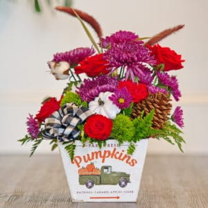 Fall Flowers with Pine Cones