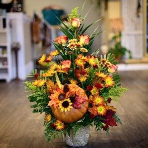 Fall Sunflowers with a Pumpkin