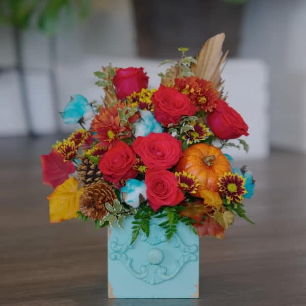 Fall Red Roses in a Teal Box