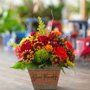 Fall Flowers in a Wooden Container