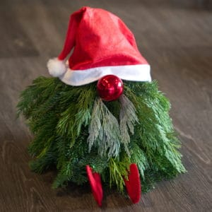 Evergreen Gnome with Red Hat