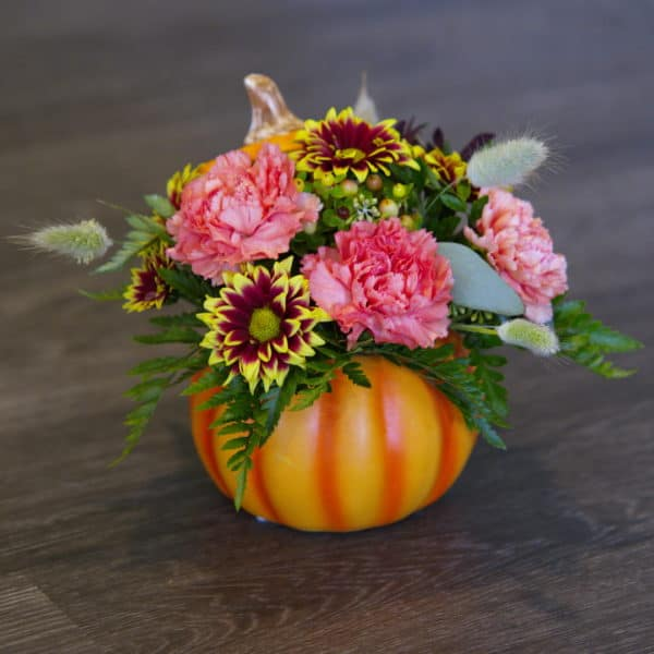 Flower Arrangement in a Ceramic Pumpkin