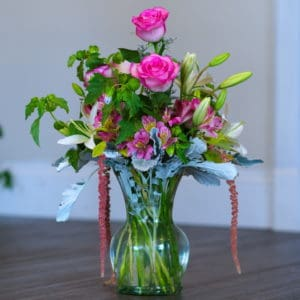 Pink Roses and Beautiful Greens in a Vase