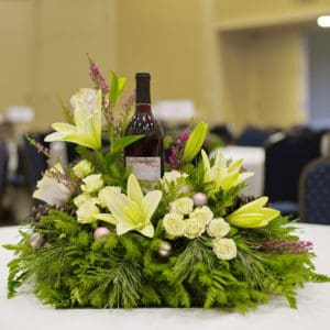 Holiday Greenery Wine Centerpiece