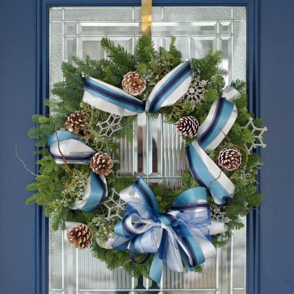 Blue & White Evergreen Wreath