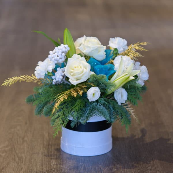 White Roses & Holiday Greens