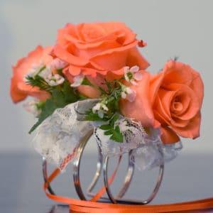 Coral Rose Cuff Corsage