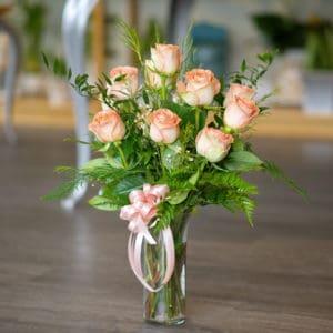 A Dozen Peach Roses