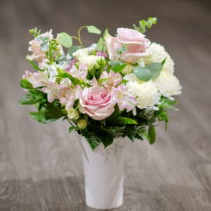 Pink Roses with White Mums
