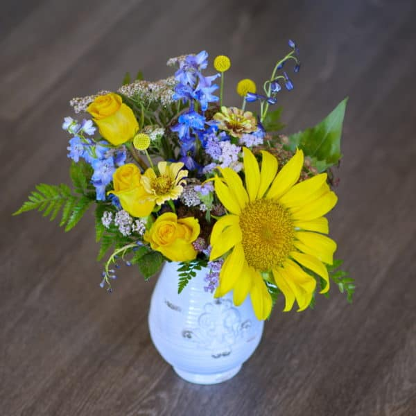 Roses & Sunflowers in a Pitcher