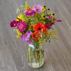 Spring Flowers in a Mason Jar