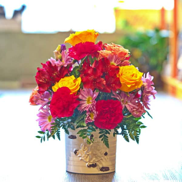 Flower Bouquet in a Ceramic Container