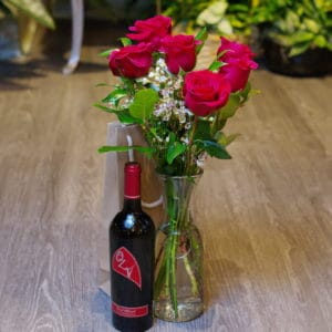 Half Dozen Roses with Wine