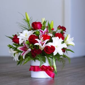 Red Roses and Lilies in a Hat Box