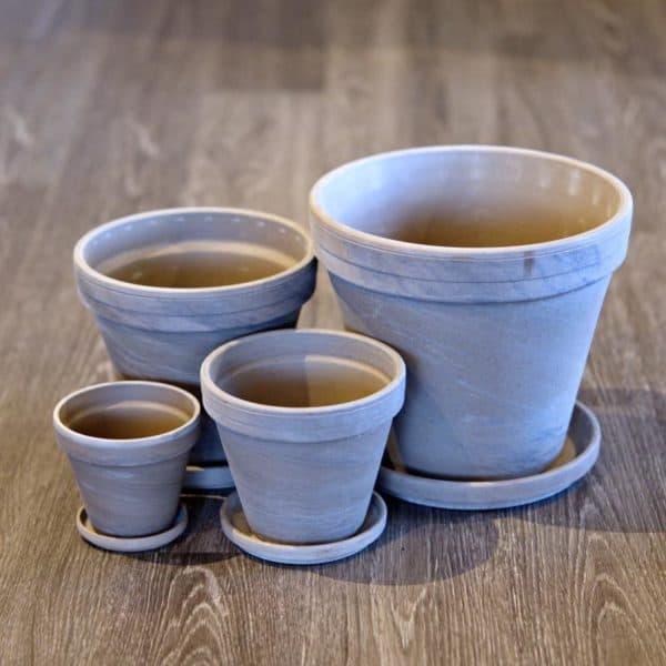 Gray Marble Clay Pots