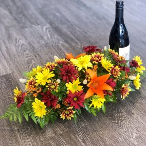Fall Centerpiece with Wine
