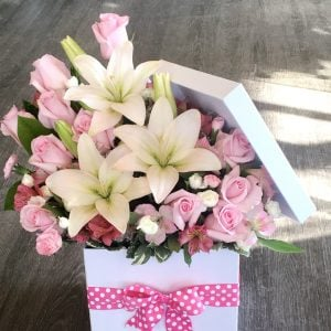 Lilies & Roses in a Hat Box